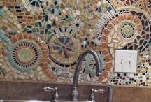 Mosaic benchtops and splashbacks