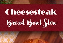 Cheesesteak bread bowls