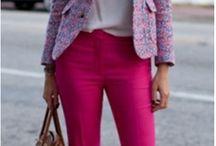 Estilo calça rosa / Inspiração de loo com calça rosa pink, rosa claro, salmão.