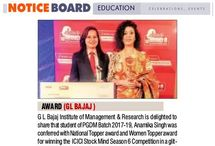 Media Coverage of GLBIMR Student Awarded as National Topper and Women Topper in ICICI Stock Mind Season 6 Competition