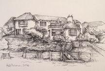 Drawings by Kate Furman / Custom house drawings by Kate Furman