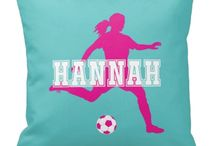 Soccer Rooms for Girls / Soccer themed bedrooms for girls and teens.  Duvet cover bedding sets, throw pillows, wall art prints, gallery wrapped canvases, shower curtains for soccer players.