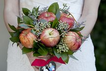 Grey/Red Fall Apple Wedding Shoot / I envision a soft grey paired with bright apple red theme for a fall wedding.   The venue would be an apple orchard or some other apple related venue (cider mill etc).  Bridesmaids would be grey gowns, red bouquets, maybe with apples mixed in.