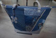 sacs en jeans recyclés / sacs,pochettes,trousses en jean de récupération et associés à d'autre tissus à motifs,unis...