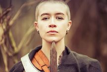 Joan of Arc / #Joan of Arc #Model #Armour #Sword #Ireland #Colour #Black and White #Beauty #Shaved head #Girl Shaved Head  #Warrior