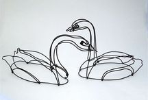 Wire, metal sculptures