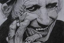 Портреты карандашом / Портреты известных людей простыми и акварельными карандашами