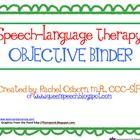 Speech Therapy Ideas, Data Sheets, Goals/Objectives etc