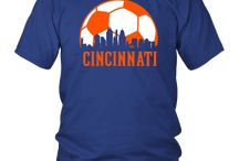 Cincinnati Soccer Shirt, Orange and Blue Skyline design