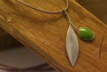 Olive leaf / Handmade silver olive leaf with enamel.