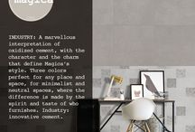 INDUSTRY / A marvellous interpretation of oxidized cement, with the character and the charm that define Magica's style.  Three colors perfect for any place and space, for minimalist and neutral spaces, where the difference is made by the spirit and taste of who furnishes.  Industry: innovative cement.  More info: http://www.cermagica.it/portfolio/industry