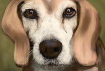 Paintings of dogs / Craig Nelson's portraits of family pets. Customizable for anyone.