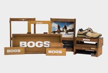 BOGS / BOGS came to us with visuals of how they wanted the fixtures to look, wanting to reflect their brand identity of the outdoors and implement a natural feel. In order to convey that natural feel, Douglas Fir was used as the main material, and it was stained and aged to replicate the desired finish. As can be seen in the various product pictures, the end product achieved this goal and BOGS was extremely satisfied with the result.