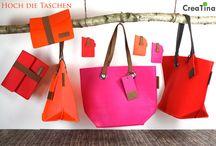 Hoch die Taschen / Hoch die Taschen! Kräftige bunte Farben aus trendigem Filz. Zeigen Sie Farbe.