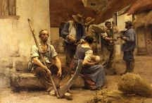 Leon Augustin Lhermitte / Leon Augustin Lhermitte (1844 - 1925) – francuski malarz realista.  Artysta urodził się na wsi, był synem prowincjonalnego nauczyciela.  Od najmłodszych lat wykazywał zdolności plastyczne, dzięki przyznanemu stypendium, mógł ukończyć studia artystyczne.  Lhermitte malował przede wszystkim sceny ilustrujące pracę i proste życie na wsi. Szczególną uwagę zwracał na macierzyństwo.  Był aktywny do ostatnich lat życia, jego prace eksponowane są muzeach na całym świecie m.in. w Paryżu, Bostonie