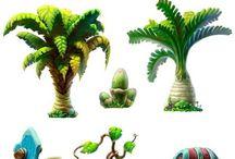 Arvore, Plantas e Capins - Cartoon