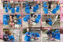 Medisch centrum De Bengelenberg / Vandaag experimenteren we met kleur en materiaal. Wat mooier als het ook nog binnen het thema valt: Hatsjoe! Verschillende kleuren rood verdunde verf, glitters, kwasten, grote priknaalden, operatie pakken (vuilniszakken en voetbeschermers), papier verband verweven tussen de struiken en op de grond, handdoeken met gaatjes en scheuren met lang draad ( om 'hechten' te oefen)...... . Bekijk het onderzoek van de kinderen (kdv en bso) op de foto collage!