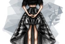 Rami Kadi Gowns  Illustrations / Sketches taking real life time gowns into the world of illustrations
