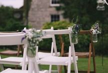 Wedding Chair Decor Ideas / Lots of ideas on how to dress your wedding chairs.  We have over 200 wooden chairs for hire, hand painted in white, grey, blue and purple or with a waxed finish