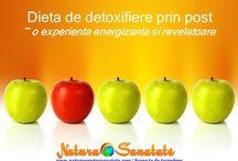 Dieta de detoxifiere prin post / Dieta de detoxifiere poate fi o experienta energizanta si revelatoare. Detoxifierea prin post este un proces natural al organismului, de eliminare si de neutralizare a toxinelor rezultate din functiile biochimice care au loc in colon, ficat, rinichi, plamani, ganglioni limfatici si piele.