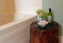 New sage coloured farmhouse bathroom