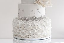 White with a hint of colour wedding cakes