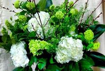 White and Green / Greens and whites are still the most popular colour combination requested at our shop for all occasions.  Here are a few of our designs.