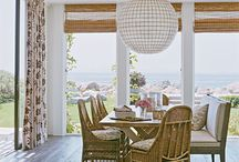 Dining in style / A very popular trend being seen in many homes. Distressed or pickled wood flooring, the floors car create a casual or an upscale look depending of furnishings, lighting, space size, natural lighting. In this example, we see a casual dining room with casual furnishings and soft lighting.