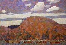 Group of Seven / Also known as the Algonquin School, a group of Canadian landscape painters from 1920 to 1933, originally consisting of Franklin Carmichael (1890–1945), Lawren Harris (1885–1970), A. Y. Jackson (1882–1974), Frank Johnston (1888–1949), Arthur Lismer (1885–1969), J. E. H. MacDonald (1873–1932), and Frederick Varley (1881–1969). Later, A. J. Casson (1898–1992) was invited to join in 1926; Edwin Holgate (1892–1977) became a member in 1930; and LeMoine FitzGerald (1890–1956) joined in 1932.