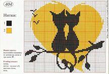 Gatti chats cats / Punto croce point de croix cross stitch