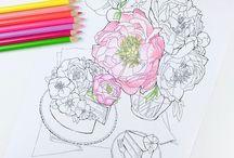 krémes virágok rajzok