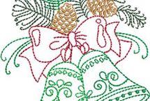 vánoce výšivka