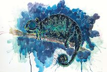 watercolor animal / animal, art, watercolor, panda, chameleon