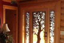 Porte en verre avec motif d'arbre