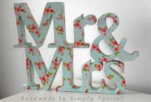 Mr&Mrs - Mr&Mr - Mrs&Mrs / Hand crafted freestanding wedding top table signs. Wooden letters in high quality glitter finish in variety of glitter colours.