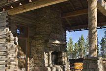 Pergola, fireplace