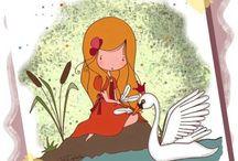 la petite fille et le cigne