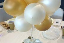 Ballonger - borddekor - rosa og grønt