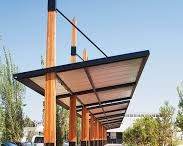 Steel and wood pergola