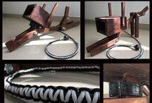 Lamparas / Lamparas decorativas hechas a mano con madera reutilizada y cable tejido a mano