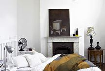 Bedroom / Loving the combination of charcoal grey and yellow