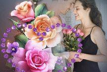 Foto gekombineerd met geverfde blomme