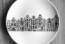 kreslené  talíře