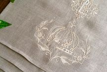 Monogram Table Runners / Personalised with machine embroidered monograms