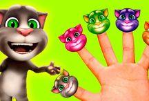Мой говорящий кот Том СЕМЬЯ ПЯТЬ ПАЛЬЧИКОВ Песенка про пальчики Finger Family Songs #мультики детям