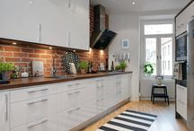 kitchen, bricks and blackboard