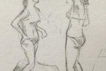 my work Laughing #quiberon #france #sketchbook #drawing #summer #beach #bikini