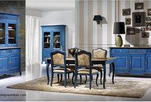 comedor colonial / comedor colonial de madera de teca y en azul decapado  Diseño, producción y fabricación exclusiva y ecológica por www.comprarenbali.com
