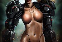 Sci- Fi, Robot, Fantasy, Cyberpunk, Sexy girls