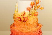 Peach / Orange Wedding Cakes / Orange, peach, yellow, wedding, cake, cake decorating, tiered